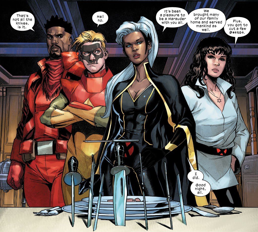"""Storm stands over her place setting, bidding the Marauders farewell. Seven knives are stabbed into the table. """"That's not all the knives, is it,"""" says Bishop in Marauders #20, Marvel Comics (2021)."""