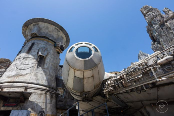 Close up of the full size Millennium Falcon in Galaxy's Edge, Disneyland