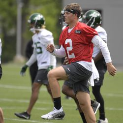 New York Jets first-round pick Zach Wilson practices at NFL football rookie camp Friday, May 7, 2021, in Florham Park, NJ
