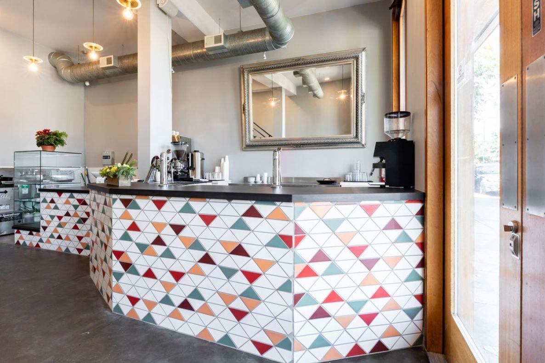 Triangular tiles on the coffee bar