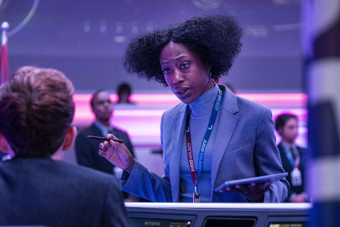 Avenue 5 cast member Rav (Nikki Amuka-Bird) incredulously confronts a passenger on her luxury cruise spaceship.