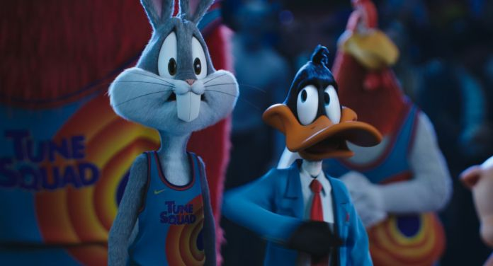 Bugs Bunny and Daffy Duck look concerned in Space Jam: A New Legacy