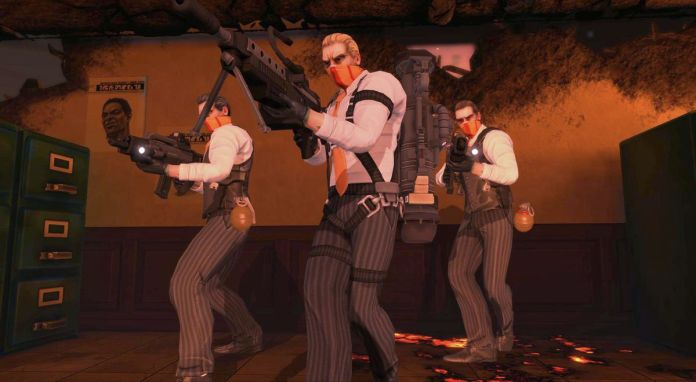 Some well-dressed hoodlums from XCOM: Enemy Within screenshots, wearing slacks and ties and rippling with high-powered weaponry.