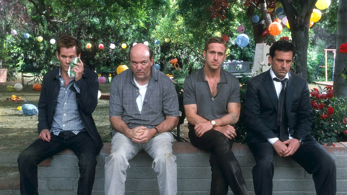 Kevin Bacon, John Carroll Lynch, Ryan Gosling and Steve Carell sit on defeated looking wall