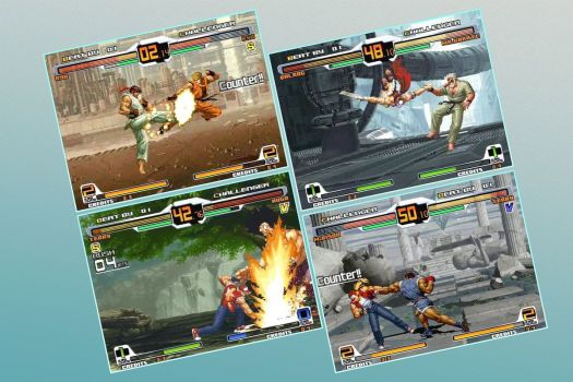 Four screenshots show Capcom and SNK characters fighting one another