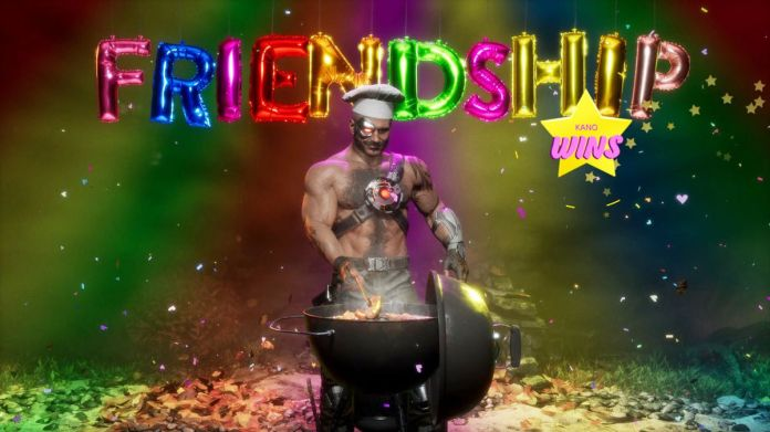 Kano performs his Friendship move, grilling shrimp and sausages, in a screenshot from Mortal Kombat 11: Aftermath