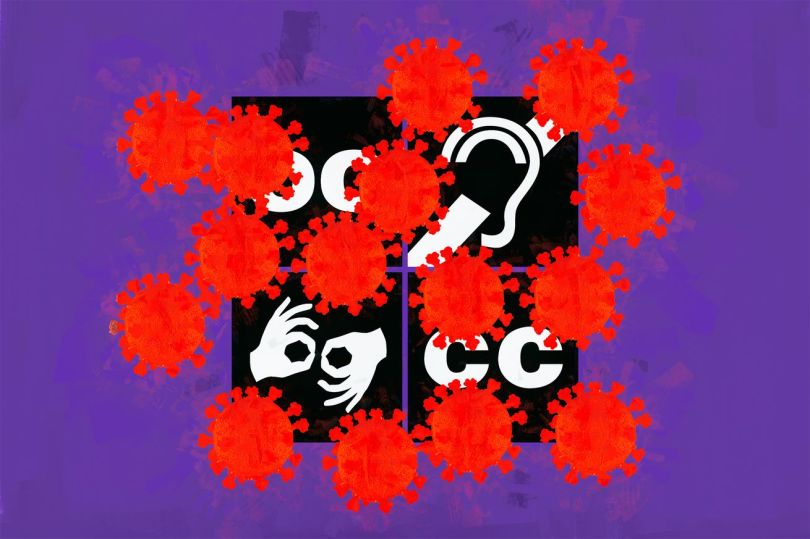 A collage with a purple background, showing four black squares with accessibility symbols on them, including the symbols for open captions, hearing loop, ASL interpreting, and closed captions. Partially blocking the symbols are simplified red coronavirus molecules.
