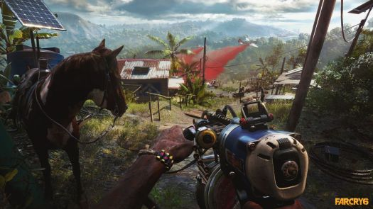 The player aims a DIY gun next to a mule in a screenshot from Far Cry 6
