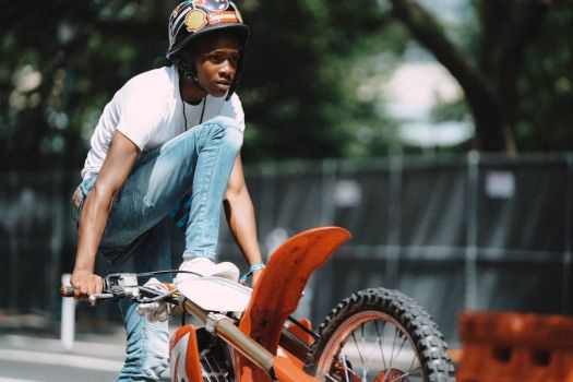 a young man on a bike