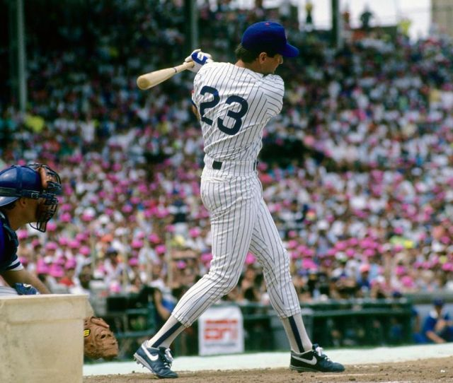 Ryne Sandberg Swings During The  Home Run Derby At Wrigley Field Getty Images