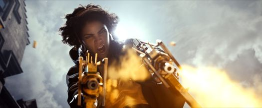 Julianna fires a pair of submachine guns in a cinematic still from Deathloop