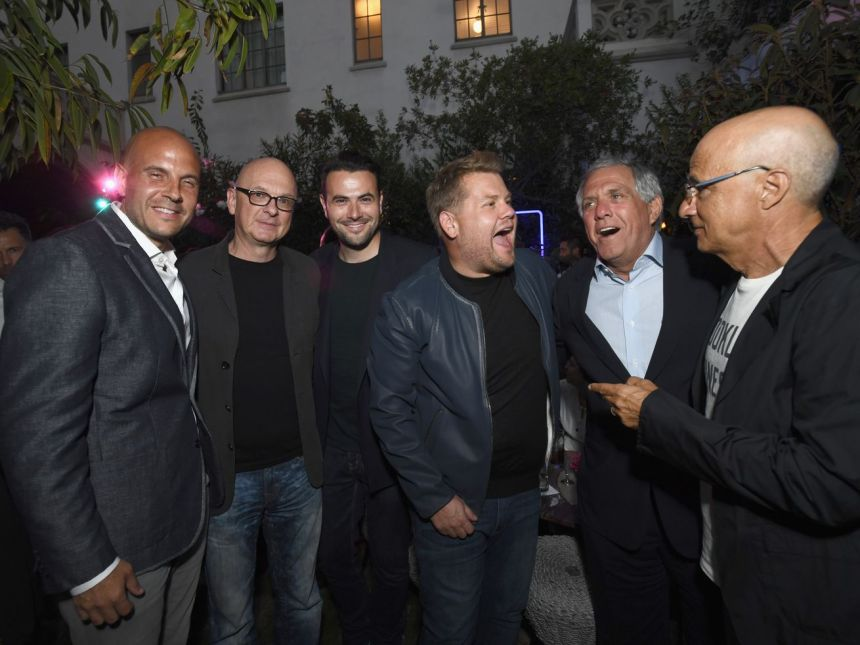 Les Moonves and other CBS personalities and producers at an event for James Corden's Carpool Karaoke in August 2017.