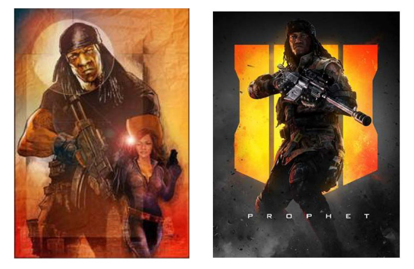 G.I. Bro drawing (left), Call of Duty: Black Ops 4 image of Prophet (right)