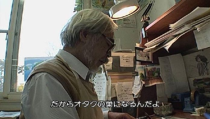 Miyazaki interviewed while sketching and smoking a cigarette