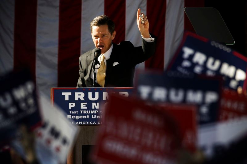 Faith and Freedom Coalition Founder Ralph Reed campaigns for then Republican presidential hopeful Donald Trump in Virginia Beach, Virginia, on October 22, 2016.