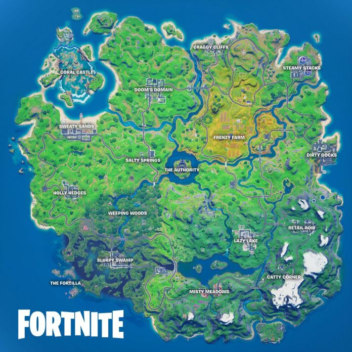 Fortnite's Chapter 2 Season 4 map with new Marvel POIs