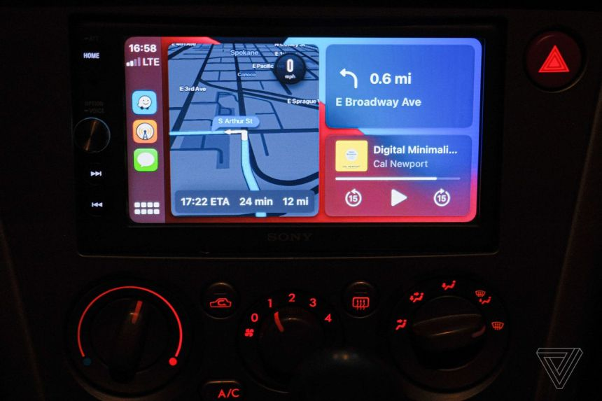 A photo showing CarPlay Dashboard with Waze showing directions