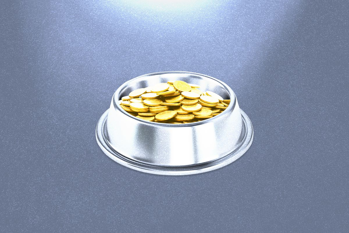 An illustration shows coins in a dog bowl, symbolizing the cryptocurrency Dogecoin.