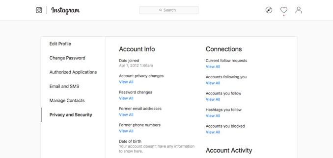 Instagram account activity changes password