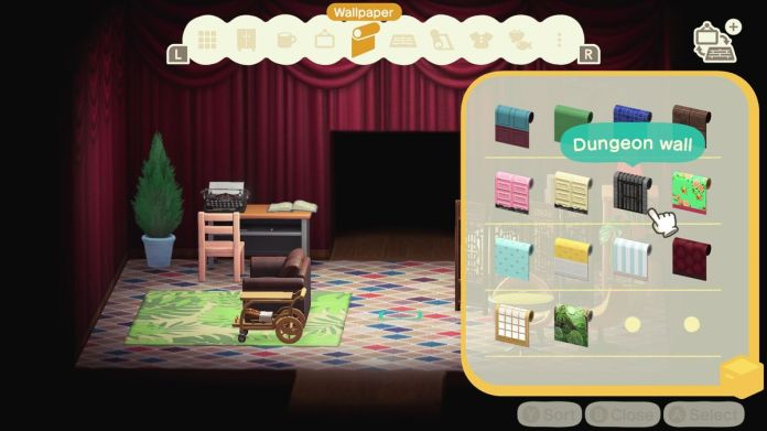 An Animal Crossing room with red-curtained walls and a tile floor.