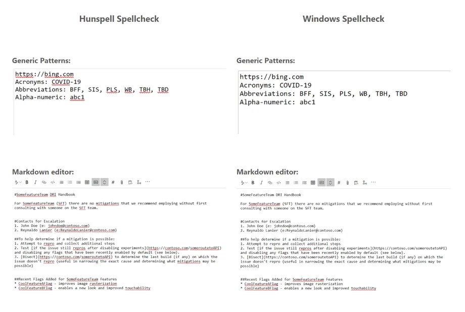 comparison of Hunspell and Windows Spellcheck