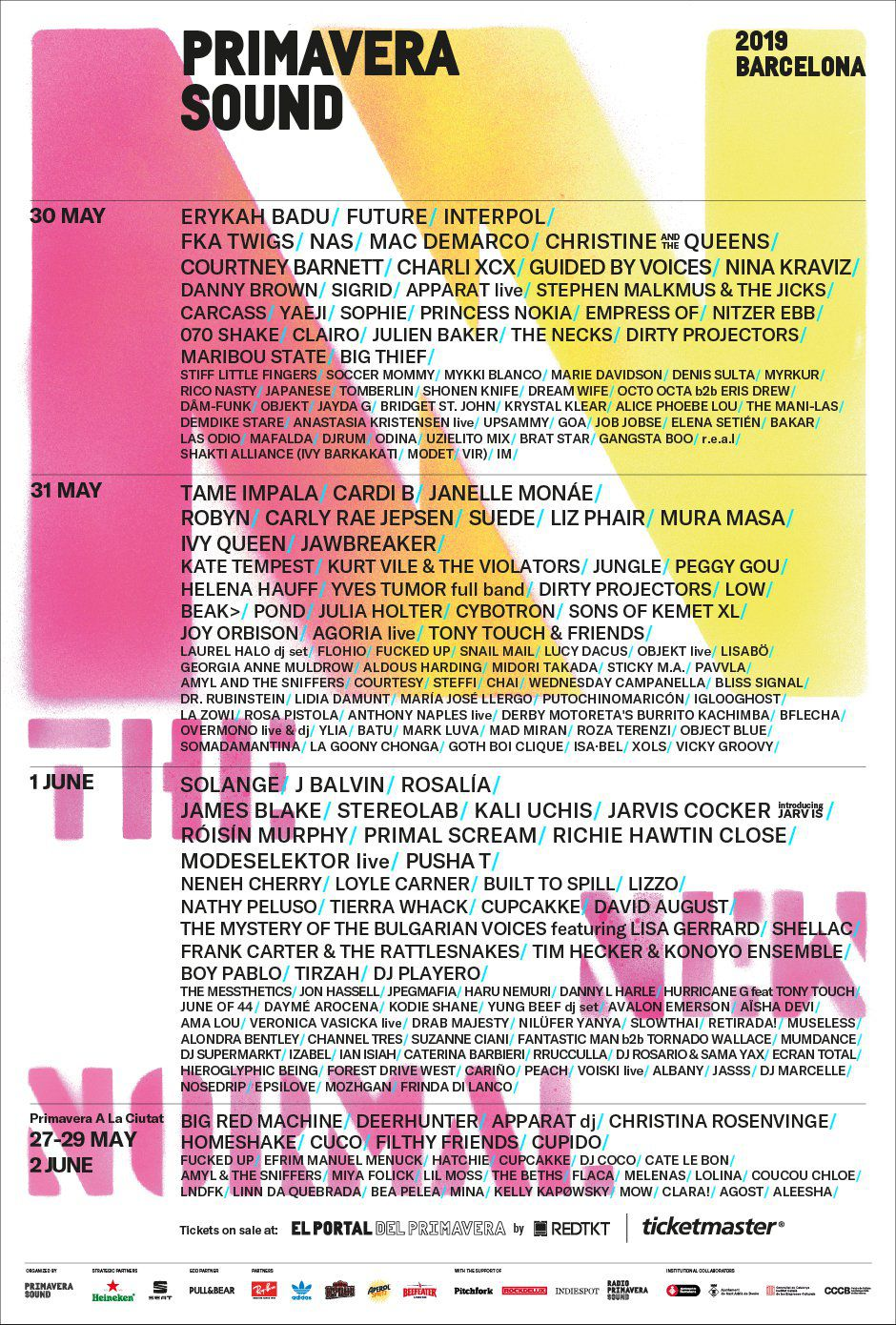 The lineup for the Primavera Sound 2019 festival.