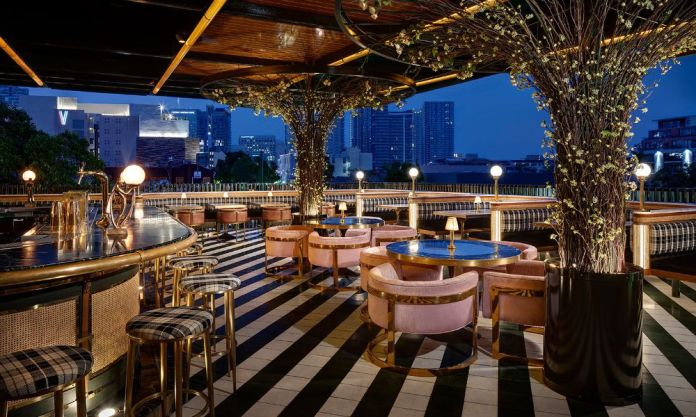 Rooftop dining patio at Born & Raised