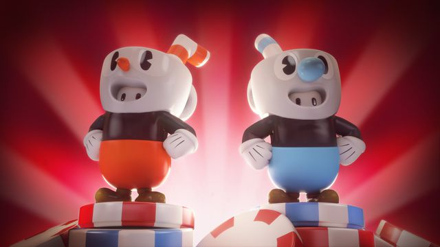 Cuphead and Mugman costumes for Fall Guys