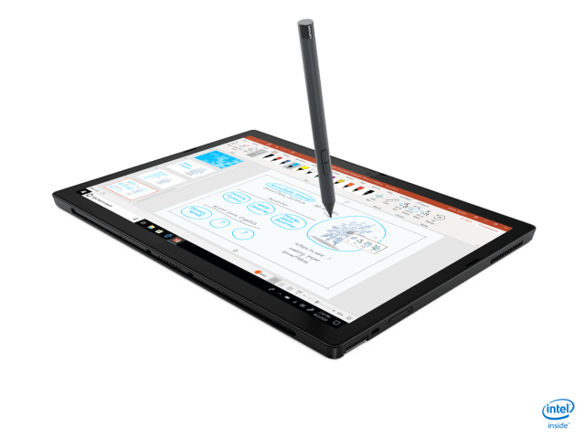 The ThinkPad X12 Detatchable in tablet mode, being written on with a stylus.
