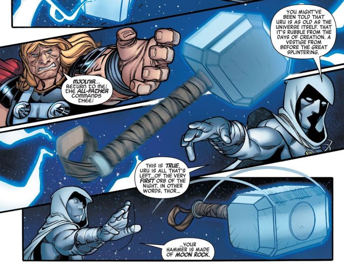 """""""You might've been told that uru is as old as the universe itself,"""" Moon Knight tells Thor as he takes control of Mjolnir, """"Uru is all that's left... of the very first orb of the night. In other words, Thor... your hammer is made of moon rock,"""" in Avengers #33, Marvel Comics (2020)."""