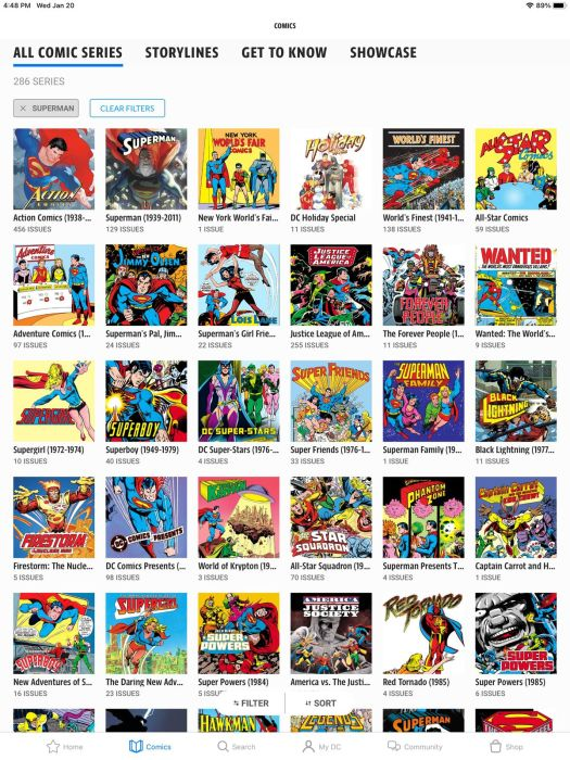 """A list of comics series on DC Universe Infinite, filtered by """"Superman"""""""