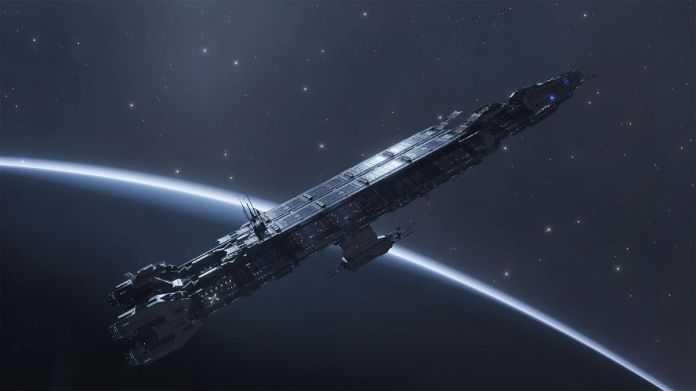 A fleet carrier arcing over the terminator of a large, snowy planet.