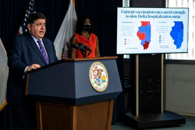 Gov. J.B. Pritzker on Thursday reinstated a statewide, indoor mask mandate and announced a vaccine requirement for educators in K-12 and higher education.