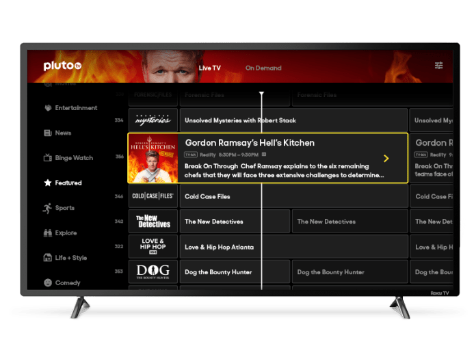 A screenshot of the Pluto TV channel guide