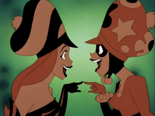 Harley Quinn and Poison Ivy, wearing ridiculous and large hats, point at each other and laugh in The New Batman Adventures.