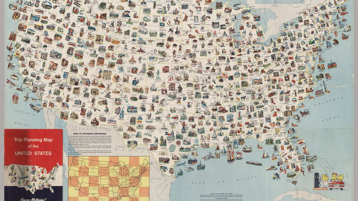 Visit every place on this vintage US map for the most epic road trip     Visit every place on this vintage US map for the most epic road trip ever