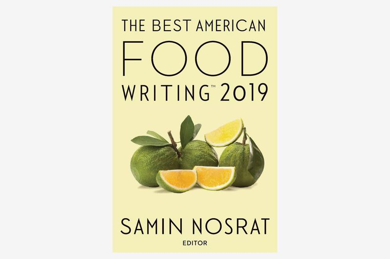 "The cover of ""The Best American Food Writing 2019"" with three limes on a pale yellow background"