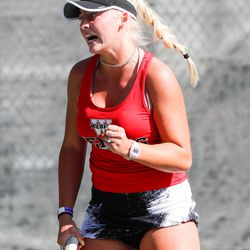 Jacque Dunyon of Weber reacts after scoring a point during the UHSAA 6A state championship first singles final at Liberty Park in Salt Lake City on Saturday, Oct. 10, 2020.