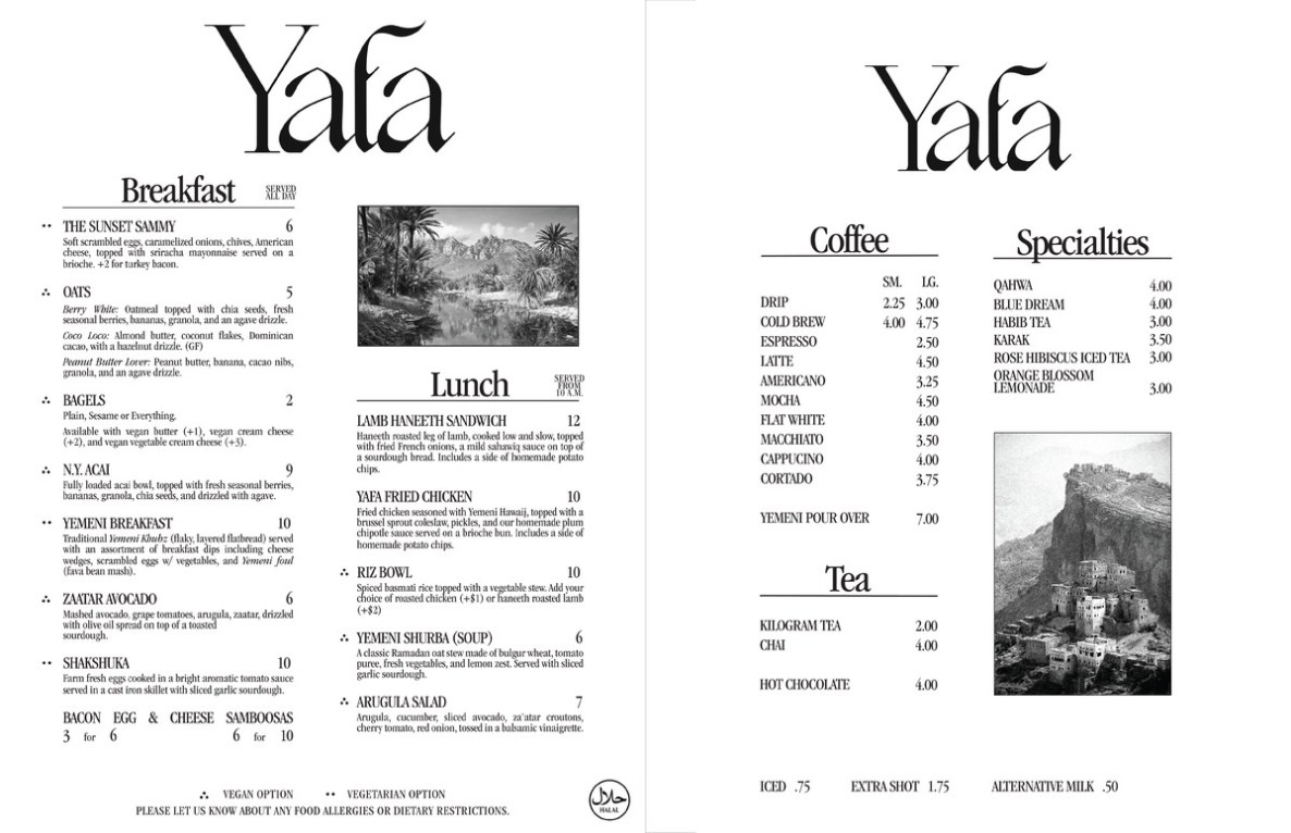 A menu from Yafa Cafe