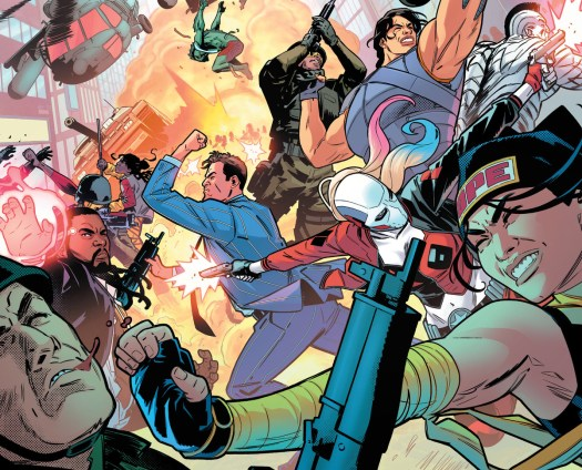 The Suicide Squad battles armed soldiers in a riot of color and punches in Suicide Squad #10, DC Comics (2020).