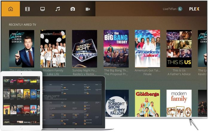 Three devices with the Plex platform pulled up