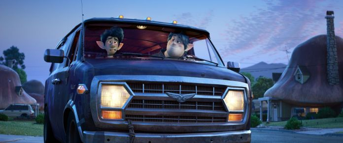 Blue-skinned animated elf brothers Ian, who looks nervous, and Barley, who looks smug, sit in the front seats of a blue van together in Onward