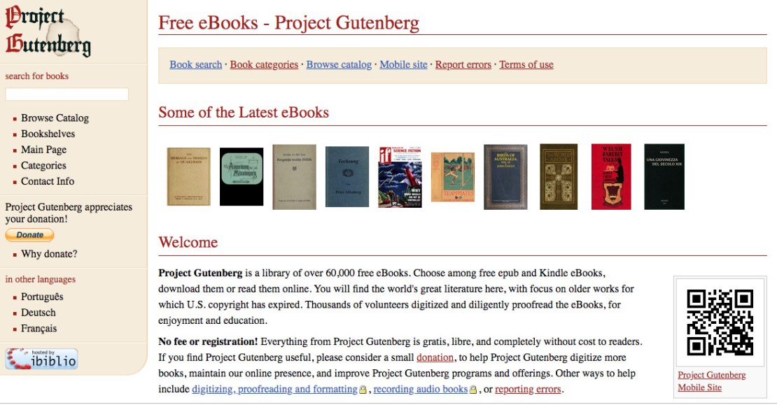Project Gutenberg, free books