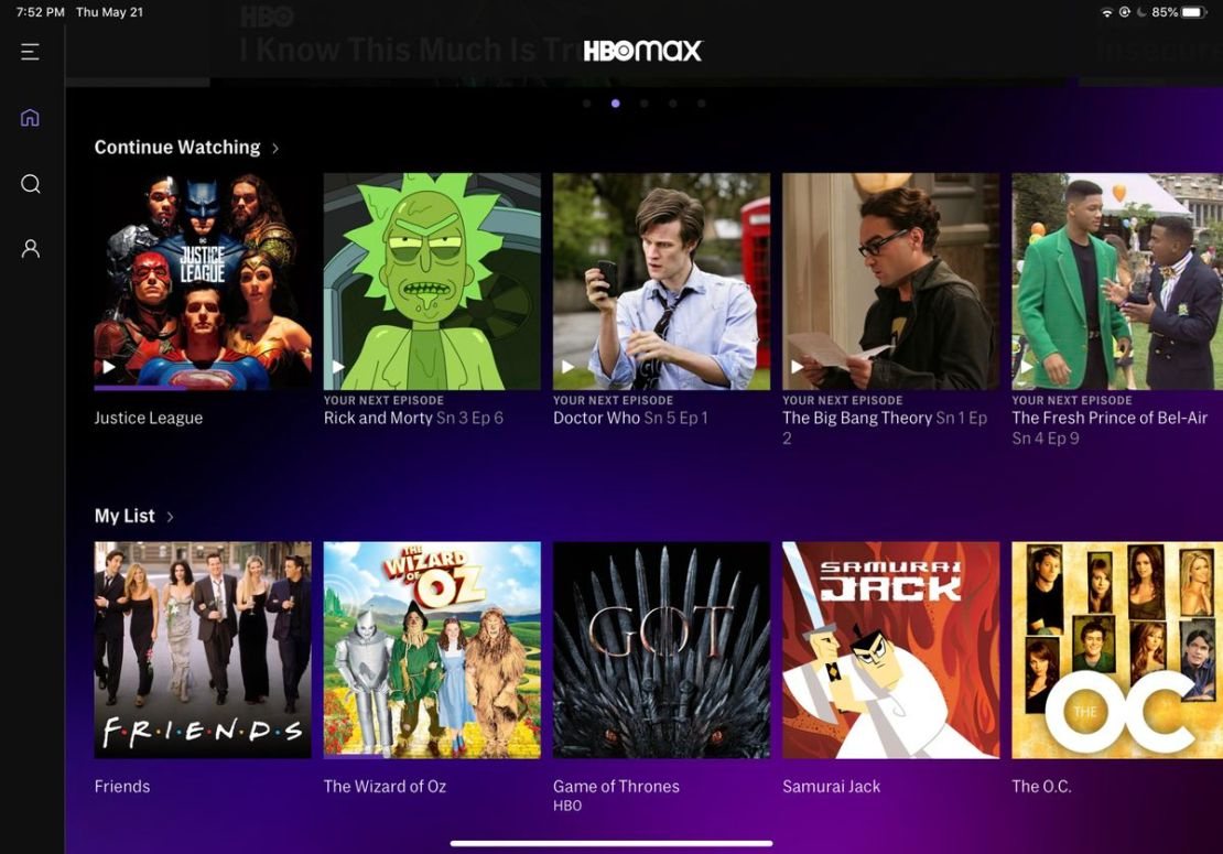 The HBO Max home screen and My List functions