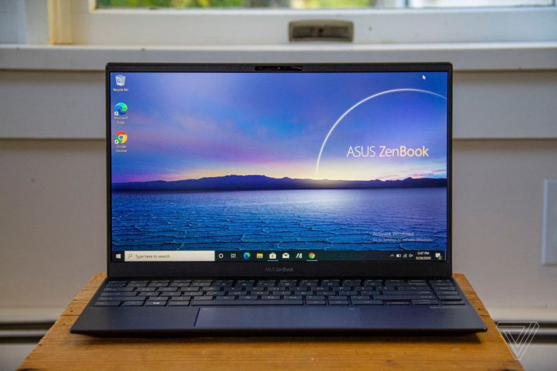 The Asus Zenbook 14 open from the front.