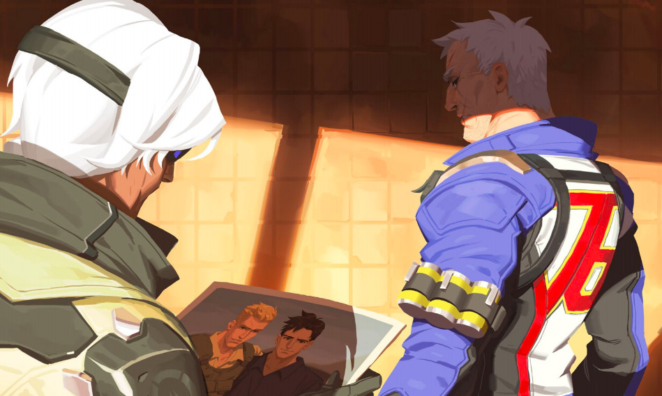 Overwatch 'Bastet' short story - Ana looking at a photograph of Soldier: 76 and Vincent