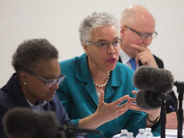 (From left) Mayoral candidates Lori Lightfoot, Cook County Board President Toni Preckwinkle and Paul Vallas meet with the Chicago Sun-Times Editorial Board in February. File Photo. | Ashlee Rezin/Sun-Times