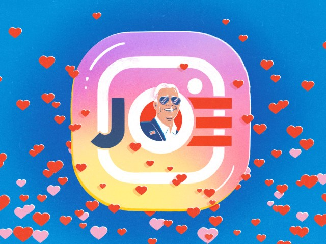 Joe Biden overlapping the Instagram logo. Pink and red hearts float around it.