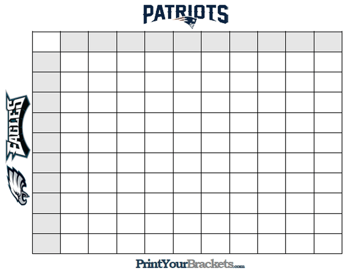 Super Bowl Squares Template A Playing Guide For Patriots