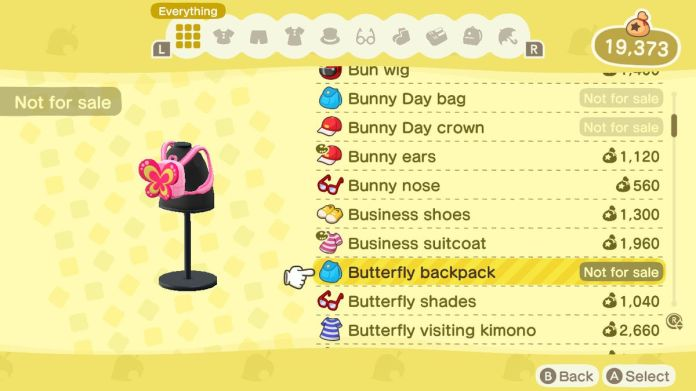 An Animal Crossing: New Horizons shop menu for a Butterfly Backpack